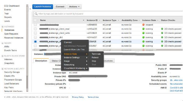 Гасим сервера в консоли Amazon